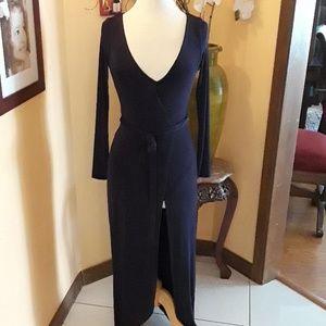 Urban Outfitters navy bodysuit wrap dress S